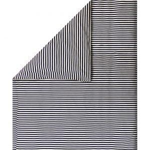 Marimekko Tasaraita Pussilakana Luonnonvalkoinen Tummansininen 150x210 Cm