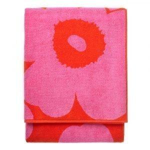 Marimekko Unikko Kylpypyyhe Punainen / Vaaleanpunainen 100x180 Cm