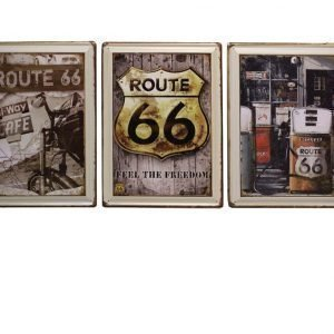 Metallitaulu Retro Route 66 30 X 40 Cm