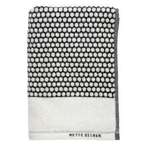 Mette Ditmer Grid Vieraspyyhe Musta / Luonnonvalkea 30x60 Cm
