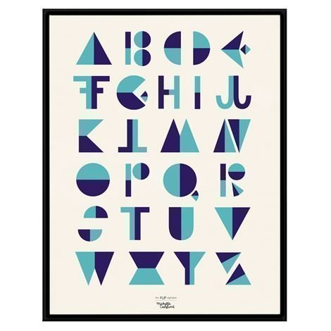 Michelle Carlslund Illustration Juliste Iso Flip Alphabet Blue