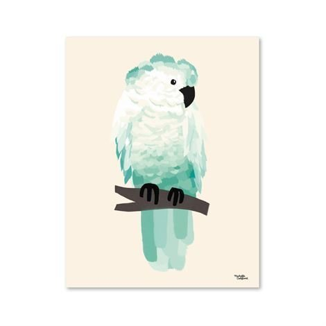 Michelle Carlslund Illustration Juliste Pieni Green Cockatoo