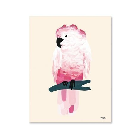 Michelle Carlslund Illustration Juliste Pieni Pink Cockatoo