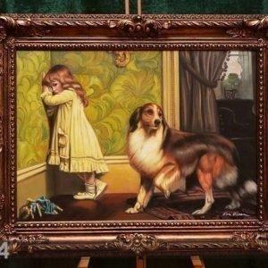 Nn Seinämaalaus Lapsi Ja Koira 92x72 Cm