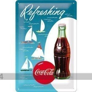 Nostalgic Art Retro Metallijuliste Coca-Cola Refreshing Purjelaiva 20x30 Cm