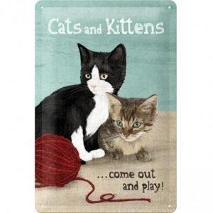 Nostalgic Art Retrotyylinen Metallijuliste Cats And Kittens 20x30 Cm