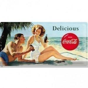 Nostalgic Art Retrotyylinen Metallijuliste Coca-Cola Delicious 25x50 Cm