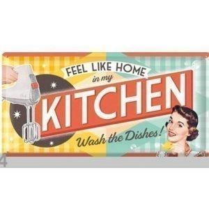 Nostalgic Art Retrotyylinen Metallijuliste Feel Like Home In My Kitchen S 25x50 Cm