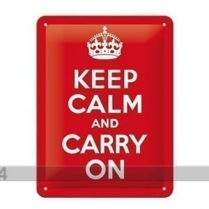 Nostalgic Art Retrotyylinen Metallijuliste Keep Calm And Carry On 15x20 Cm