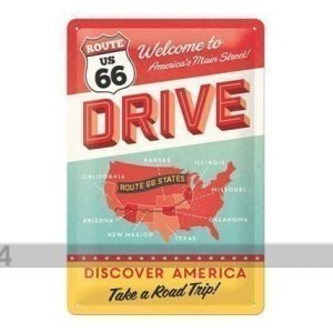 Nostalgic Art Retrotyylinen Metallijuliste Route 66 Discover America 20x30 Cm