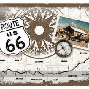 Nostalgic Art Retrotyylinen Metallijuliste Route 66 Kompass 20x30 Cm