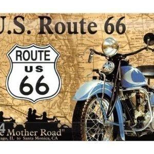 Nostalgic Art Retrotyylinen Metallijuliste Route 66 Sininen MoottoripyÖrÄ 20x30 Cm