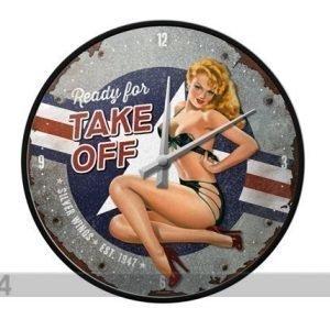 Nostalgic Art Retrotyylinen Seinäkello Pin Up Ready For Take Off