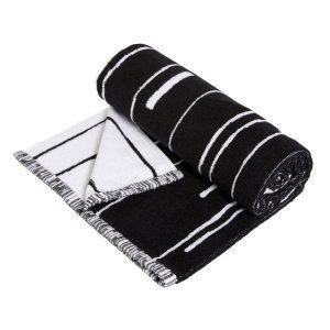 Oyoy Puun Pyyheliina Large Musta / Valkoinen 70x140 Cm