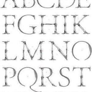 PR Home Alfabetet Taulu Valkoinen/Musta 70x100 cm