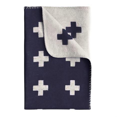 Pia Wallén Cross Blanket Huopa Iso Tummansininen