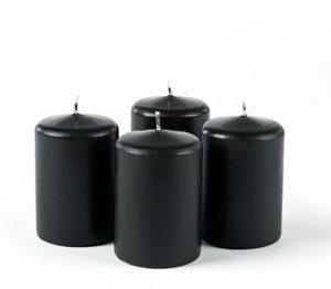 Pilarikynttilä Musta 4-pack Ø 6cm 9cm