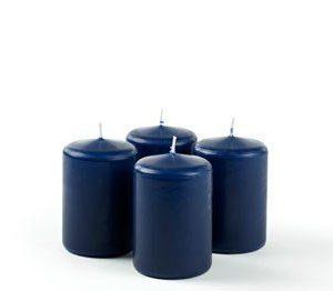 Pilarikynttilä Sininen 4-pack Ø 6cm 9cm