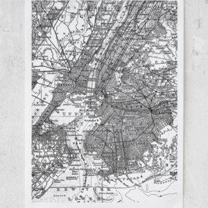 Rebel Walls Map Of N.Y. Juliste 50x70 Cm