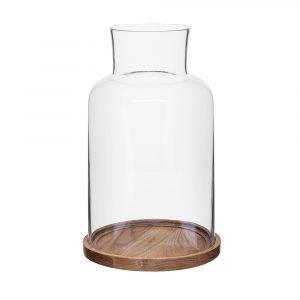 Sagaform Oval Oak Kynttilälyhty L Tammi / Lasi