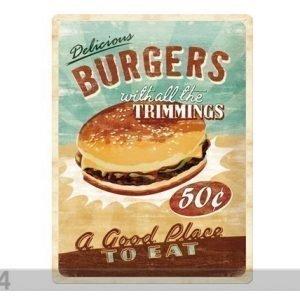 Sg Retrotyylinen Metallijuliste Delicious Burgers 30x40 Cm
