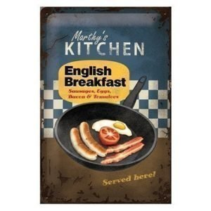 Sg Retrotyylinen Metallijuliste English Breakfast 20x30 Cm