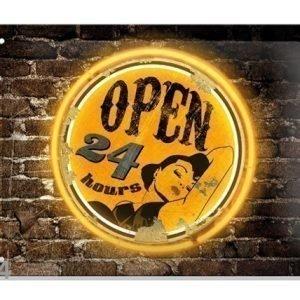 Sg Retrotyylinen Metallijuliste Open 24 Hours 20x15 Cm