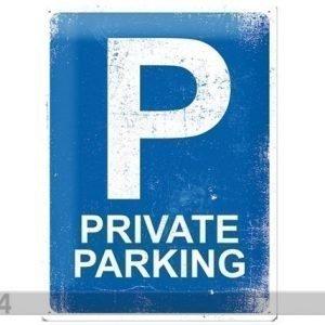 Sg Retrotyylinen Metallijuliste Private Parking 30x40 Cm