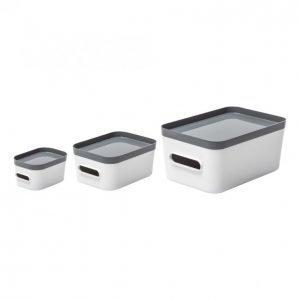 Smartstore Compact Säilytyslaatikkosetti Valkoinen / Harmaa 3-Paketti
