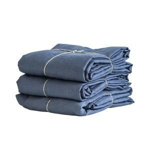 Tell Me More Washed Linen Pussilakana Yhdelle Navy Blue 200x150 Cm