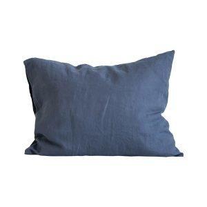 Tell Me More Washed Linen Tyynyliina Navy Blue 50x60 Cm 2-Pakkaus
