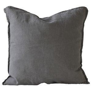 Tell Me More Washed Linen Tyynynpäällinen Tummanharmaa 50x50 Cm