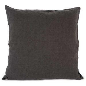 Tell Me More Washed Linen Tyynynpäällinen Tummanharmaa 65x65 Cm