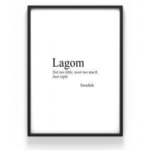The Nordic Poster Text Lagom Juliste Musta 30x40 Cm