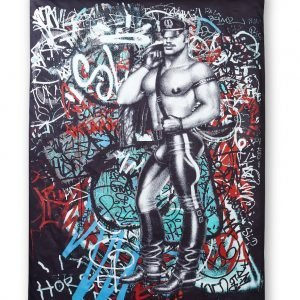 Tom Of Finland Back Alley Satiinipussilakana Punainen Turkoosi 150x210 Cm