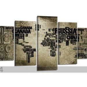 Visario Viisiosainen Seinätaulu Kartta 200x100 Cm