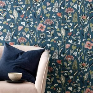 Wallpaper By Ellos Svea Tapetti Sininen