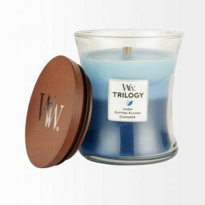 Woodwick Trilogy: Linen Cotton Flower & Cashmere Tuoksukynttilä